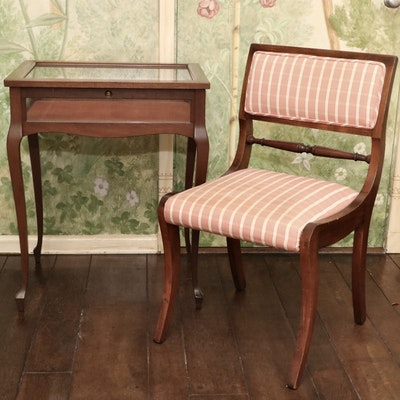 Colonial Revival Cherry Stained Curio Table and Upholstered Side Chair