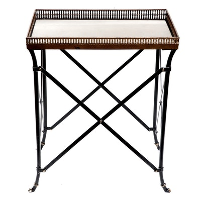 Directoire Style Black Metal and Granite Top Table with Bronze Finish Gallery
