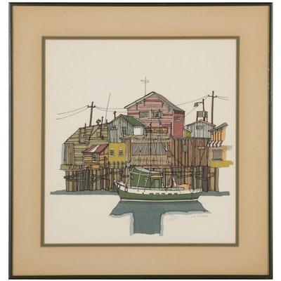 """William F. Stone Color Lithograph """"Wharfside,"""" Circa 1976"""