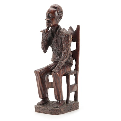 Haitian Style Folk Art Carved Wood Figure of Man Seated in Chair