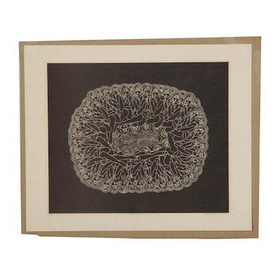 """Bevlyn Simson Lithograph """"White Lace,"""" 1968"""