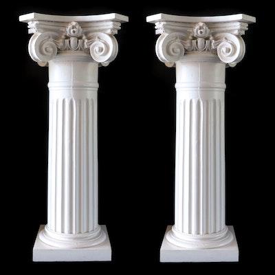 Pair of Ionic Column Painted Wood Display Pedestals