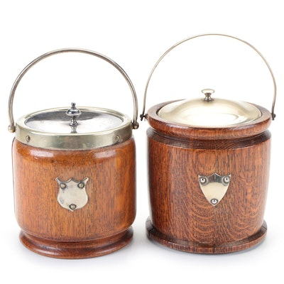 English Oak and Silver Plate Handled Biscuit Barrels, Early 20th Century