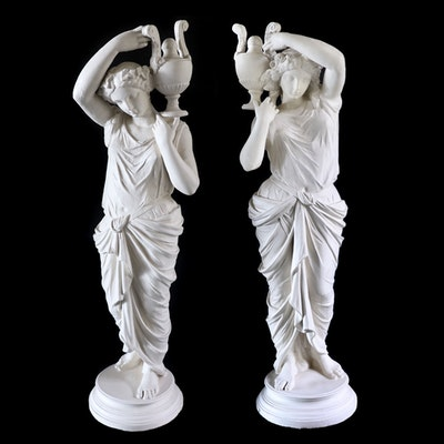 Pair of Grecian Figural Plaster Statues, Mid-20th Century