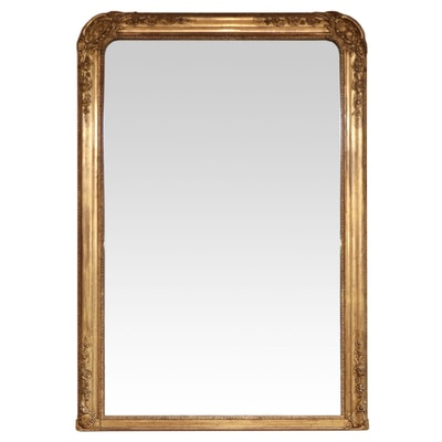 Continental Style Giltwood and Gesso Mantel Mirror, Late 19th C.