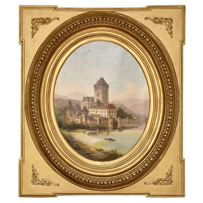 Frederich N. Jankowsky Oil Painting of Austrian Castle, Mid-19th C.