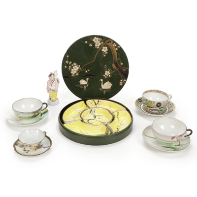 Nippon Sweetmeat Dish and Other Japanese Porcelain Decorative Accents