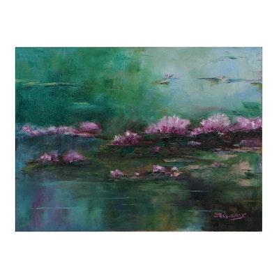 """James Baldoumas Oil Painting """"Lily Pads"""""""