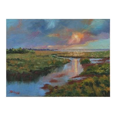 """James Baldoumas Landscape Oil Painting """"Sunset Over Marsh"""""""
