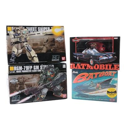 Polar Lights Batmobile and Batboat Models with Bandai HG Robot Kits in Boxes