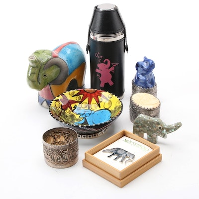 Abalone, Ceramic Figurines and Other Elephant Themes Decorative Accessories