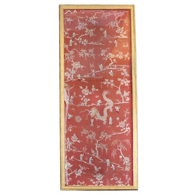 """Chinese Qing Dynasty Handmade """"Hundred Boys"""" Embroidered Silk Panel"""