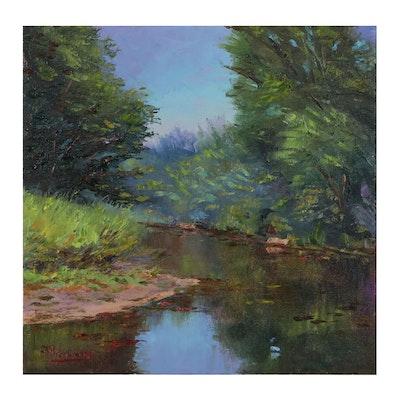 """James Baldoumas Landscape Oil Painting """"Pond View"""""""