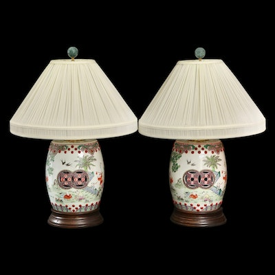 Pair of Chinese Barrel-Shaped Porcelain Table Lamps Depicting Children