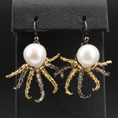 Sterling Octopus Earrings with Pearl and Garnet