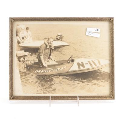 """Drastic Stuff N-117"" Speed Boat Photograph in Metal Frame"