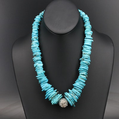 Sterling Magnesite Graduated Wirework Bead Necklace