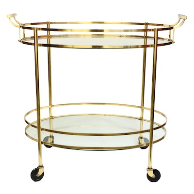 Hollywood Regency Style Brass Two-Tier Oval Bar Cart, Mid to Late 20th C.