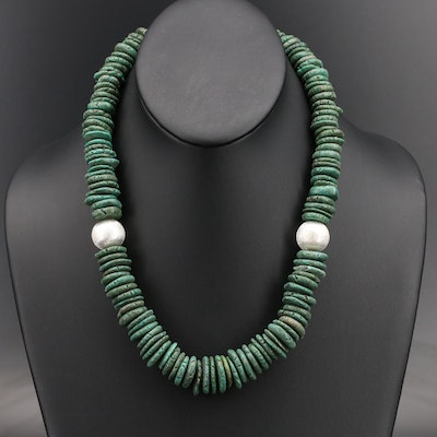 Sterling Faux Turquoise Heshi Necklace with Brushed Beads