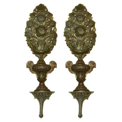 Italian Gilt Metal Candle Shields, Late 19th Century