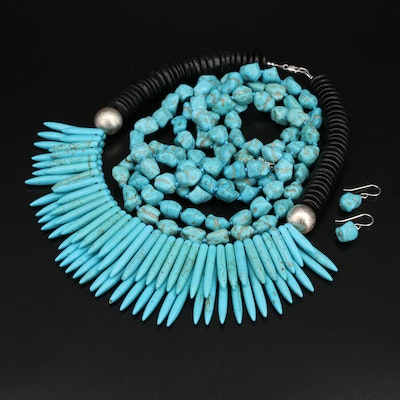 Sterling Necklaces and Earrings Including Howlite and Magnasite