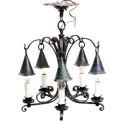 Hand-Wrought Patinated Iron Lantern Style Chandelier by Charles Marable