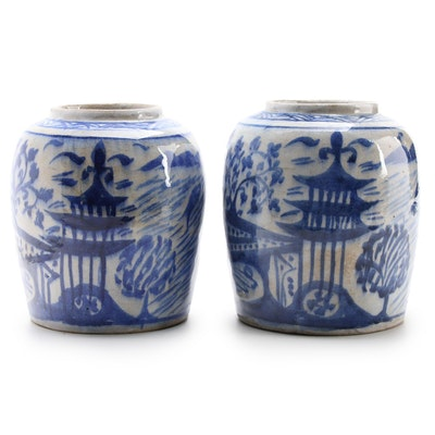 Chinese Hand-Painted Blue and White Porcelain Ginger Jars
