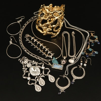 Sterling Jewelry Collection with Wayland Whale Tail and Biomorphic Bracelets