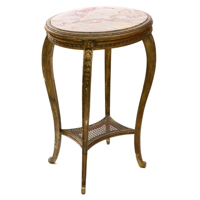 Louis XV Style Giltwood and Marble Top Oval Side Table, 19th Century