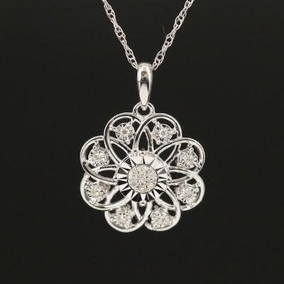 10K 0.05 CTW Diamond Flower Pendant Necklace