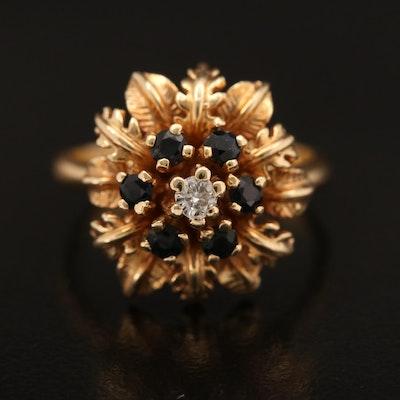 14K 0.06 CT Diamond and Sapphire Foliate Ring
