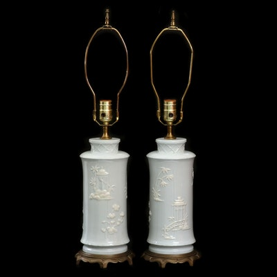 Hollywood Regency Style Powder Blue Porcelain Chinoiserie Boudoir Lamps