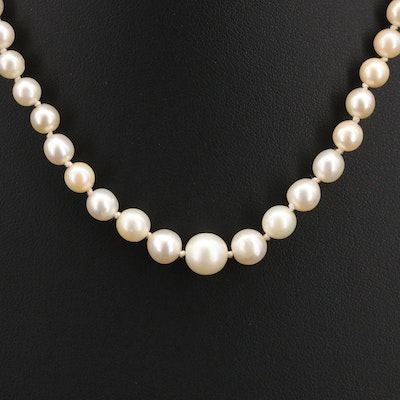 Vintage Pearl Necklace with 14K and 18K 0.17 CTW Diamond Clasp