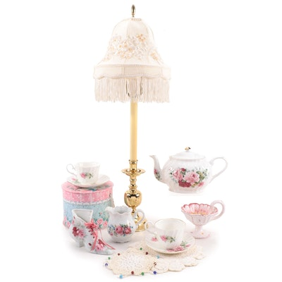 Staffordshire England Porcelain Tea Set with Lamp, Figurals, and Lace Doilies