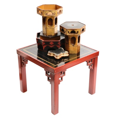Chinese Chippendale Style Lacquered-Wood Leather Side Table and Display Stands