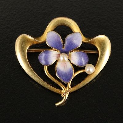 Art Nouveau Krementz 14K Seed Pearl Pansy Brooch