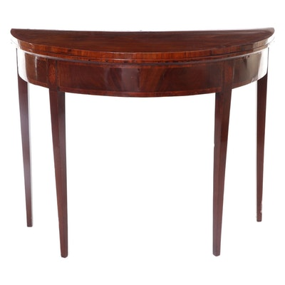 Federal Mahogany and Marquetry Demilune Games Table, Early 19th Century