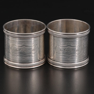 American Chased Coin Silver Napkin Rings, Mid-19th Century