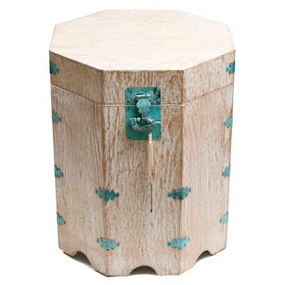 Korean Bleached Wood Octagonal Hat Box Table