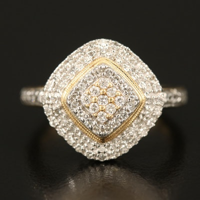 14K 0.25 CTW Diamond Cluster Ring