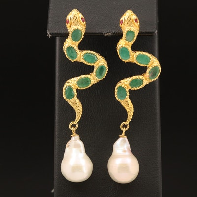 Sterling Emerald, Ruby and Pearl Snake Earrings