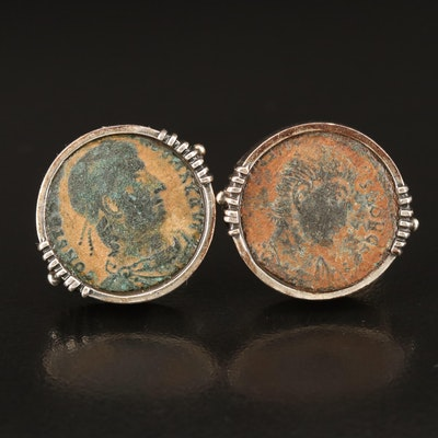 Sterling Cufflinks with Roman Imperial Bronze Coins