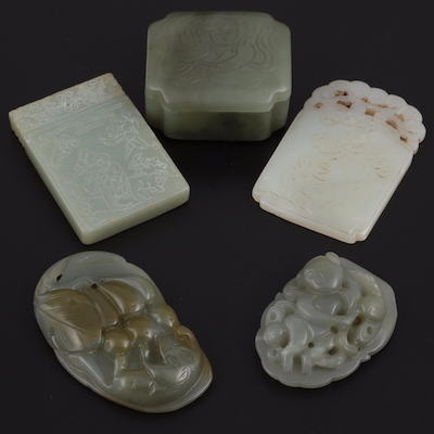 Chinese Carved Nephrite Amulets, Pendants, and Trinket Box