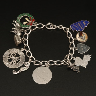 Vintage Charm Bracelet with Seahorse and Heart Charms
