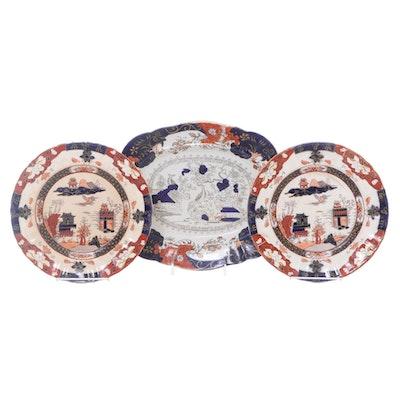 Mason's English Imari Style Ironstone Plates and Platter, Early-Mid 19th Century