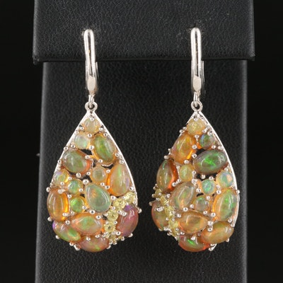 Sterling Opal and Sapphire Teardrop Earrings