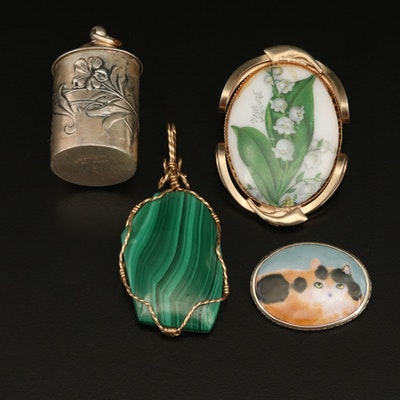 Sterling Cat Brooch with Flower Repousé Container and Lily of the Valley Brooch