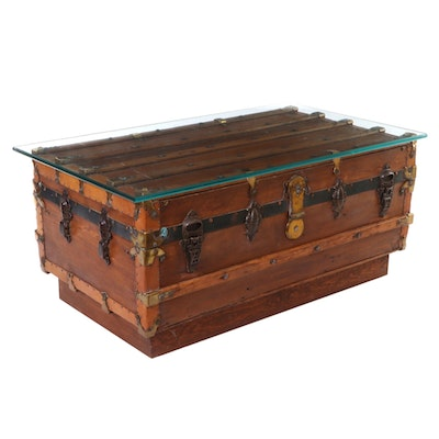 Repurposed Glass-Top Steamer Trunk Coffee Table