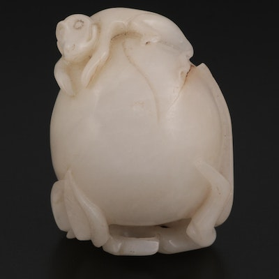 Chinese Carved Serpentine Figurine of Monkey on Fruit