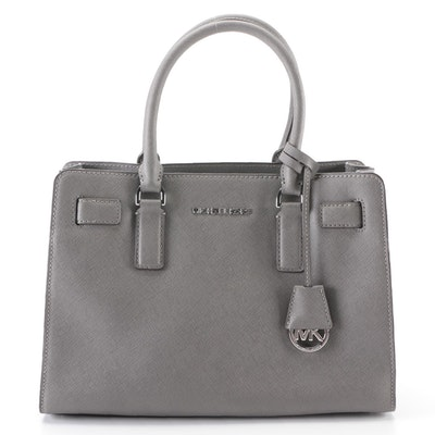 Michael Kors Handbag in Grey Saffiano Leather with Detachable Shoulder Strap